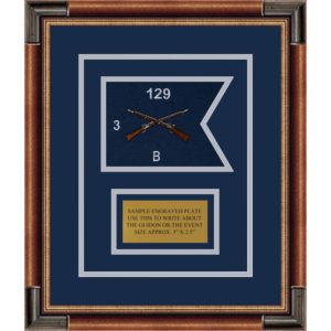 "Infantry Version 2 7"" x 5"" Guidon Design 75-D1-M1 Framed"