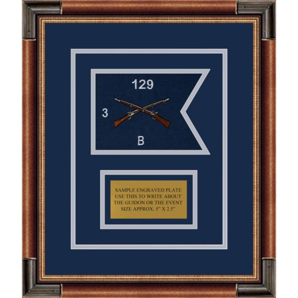 """Infantry Version 2 7"""" x 5"""" Guidon Design 75-D1-M1 Framed"""