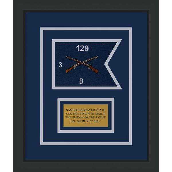 """Infantry Version 2 7"""" x 5"""" Guidon Design 75-D1-M2 Framed"""