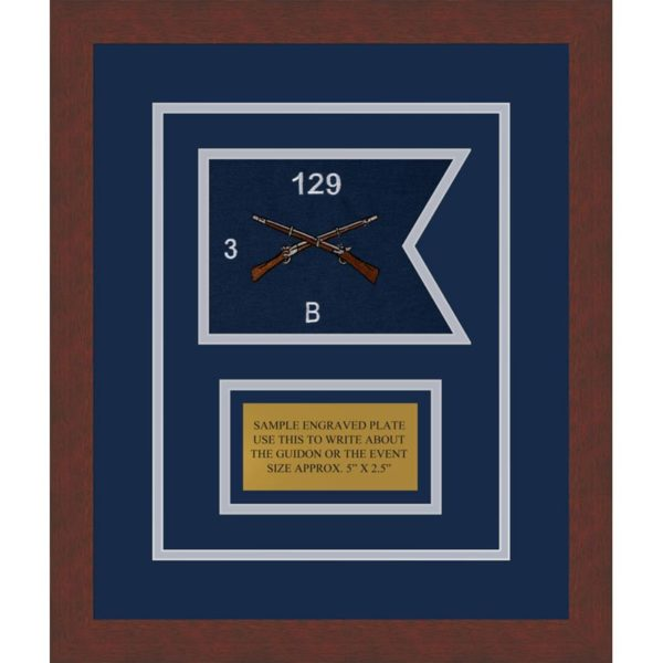 """Infantry Version 2 7"""" x 5"""" Guidon Design 75-D1-M3 Framed"""
