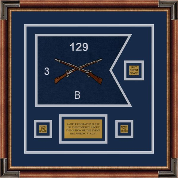 "Infantry Version 2 12"" x 9"" Guidon Design 129-D2-M1 Framed"