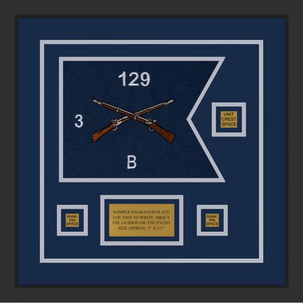"Infantry Version 2 12"" x 9"" Guidon Design 129-D2-M2 Framed"