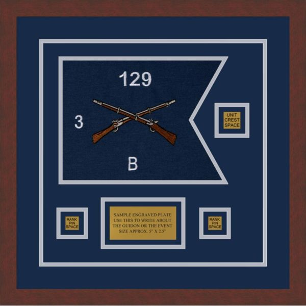 "Infantry Version 2 12"" x 9"" Guidon Design 129-D2-M3 Framed"