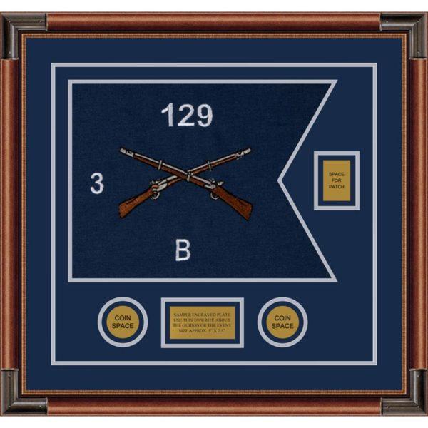 """Infantry Version 2 20"""" x 15"""" Guidon Design 2015-D2-M4 Framed"""