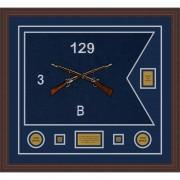 """Infantry Version 2 28"""" x 20"""" Guidon Design 2820-D2-M6 Framed"""