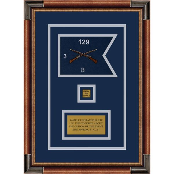 "Infantry Version 2 7"" x 5"" Guidon Design 75-D2-M1 Framed"