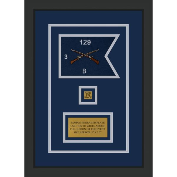 "Infantry Version 2 7"" x 5"" Guidon Design 75-D2-M2 Framed"