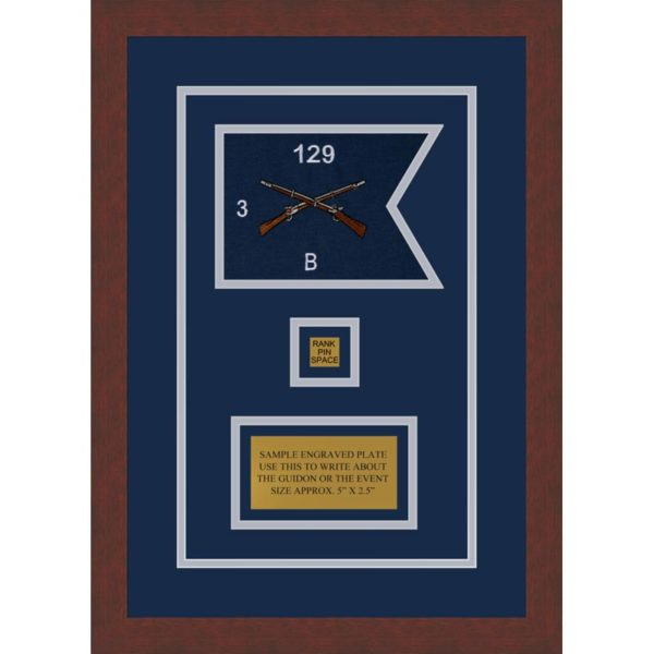 "Infantry Version 2 7"" x 5"" Guidon Design 75-D2-M3 Framed"