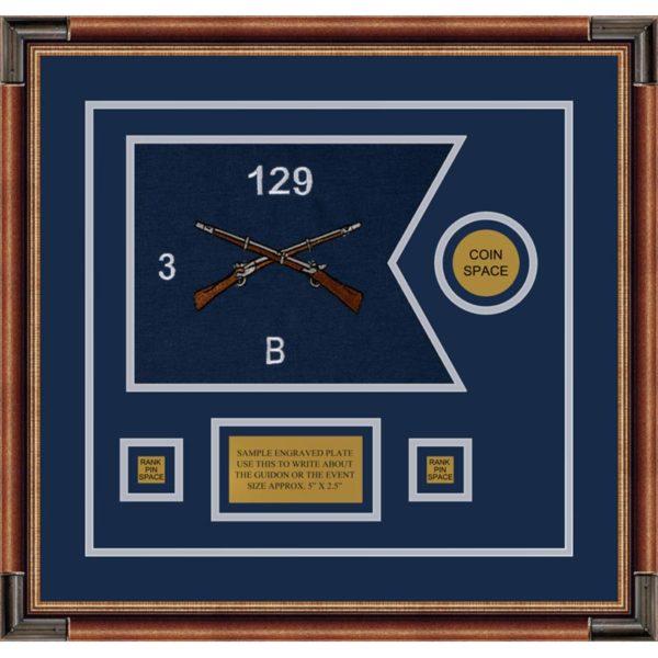 """Infantry Version 2 12"""" x 9"""" Guidon Design 129-D3-M1 Framed"""