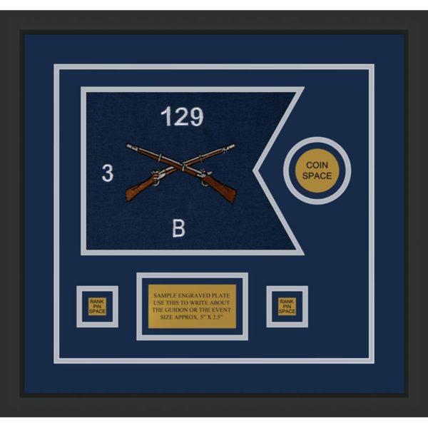 """Infantry Version 2 12"""" x 9"""" Guidon Design 129-D3-M2 Framed"""