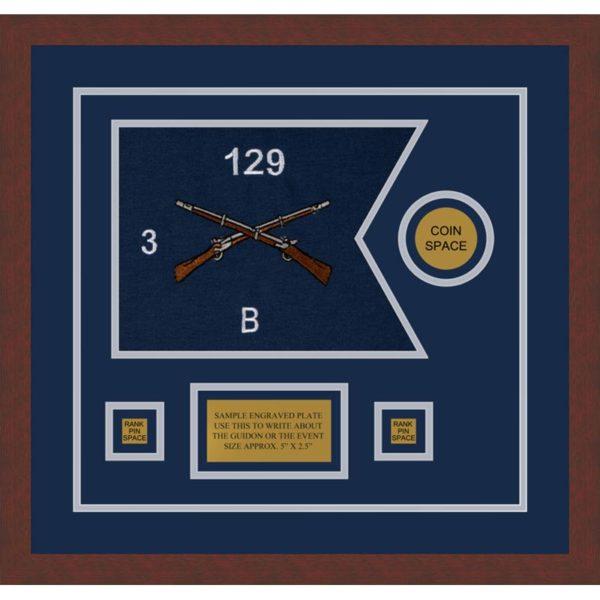 """Infantry Version 2 12"""" x 9"""" Guidon Design 129-D3-M3 Framed"""