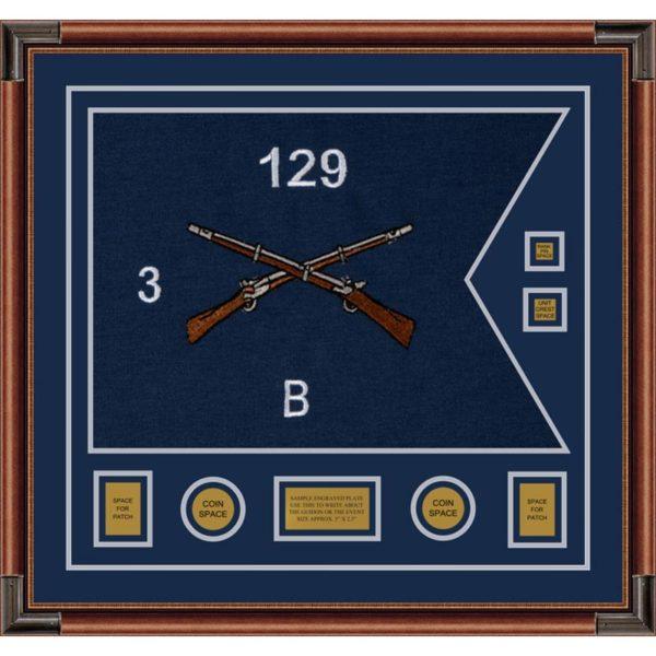"""Infantry Version 2 28"""" x 20"""" Guidon Design 2820-D3-M4 Framed"""