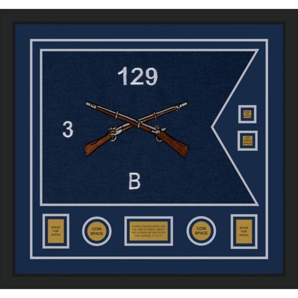 "Infantry Version 2 28"" x 20"" Guidon Design 2820-D3-M5 Framed"