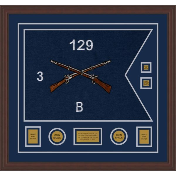 "Infantry Version 2 28"" x 20"" Guidon Design 2820-D3-M6 Framed"