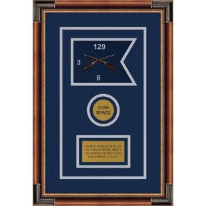 "Infantry Version 2 7"" x 5"" Guidon Design 75-D3-M1 Framed"