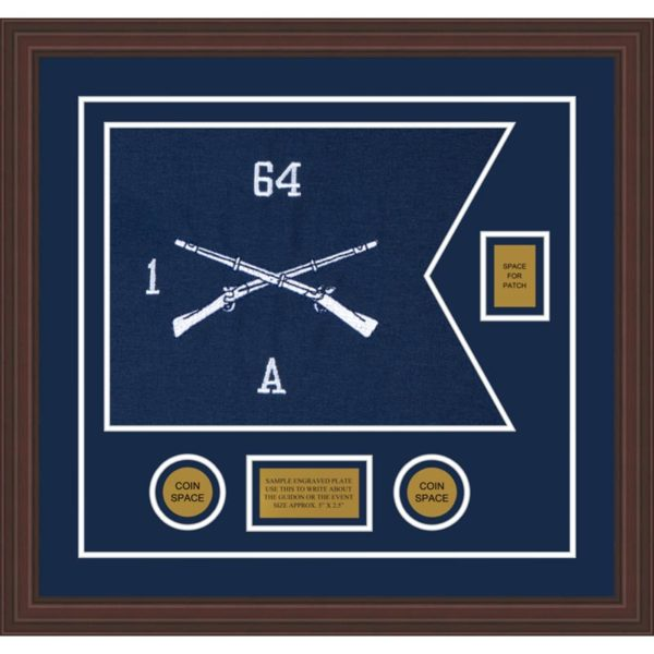 "Infantry Version 1 20"" x 15"" Guidon Design 2015-D2-M6 Framed"