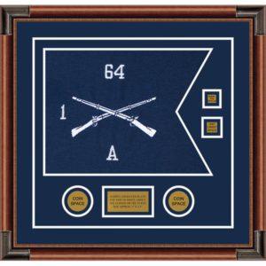 """Infantry Version 1 20"""" x 15"""" Guidon Design 2015-D3-M4 Framed"""