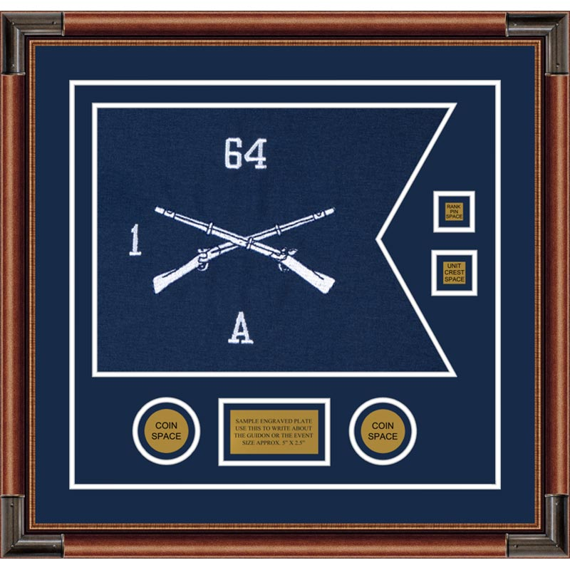 "Infantry Version 1 20"" x 15"" Guidon Design 2015-D3-M4 Framed"