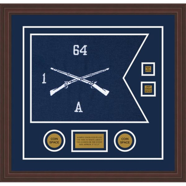 "Infantry Version 1 20"" x 15"" Guidon Design 2015-D3-M6 Framed"