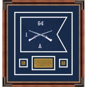 """Infantry Version 1 12"""" x 9"""" Guidon Design 129-D1-M1 Framed"""