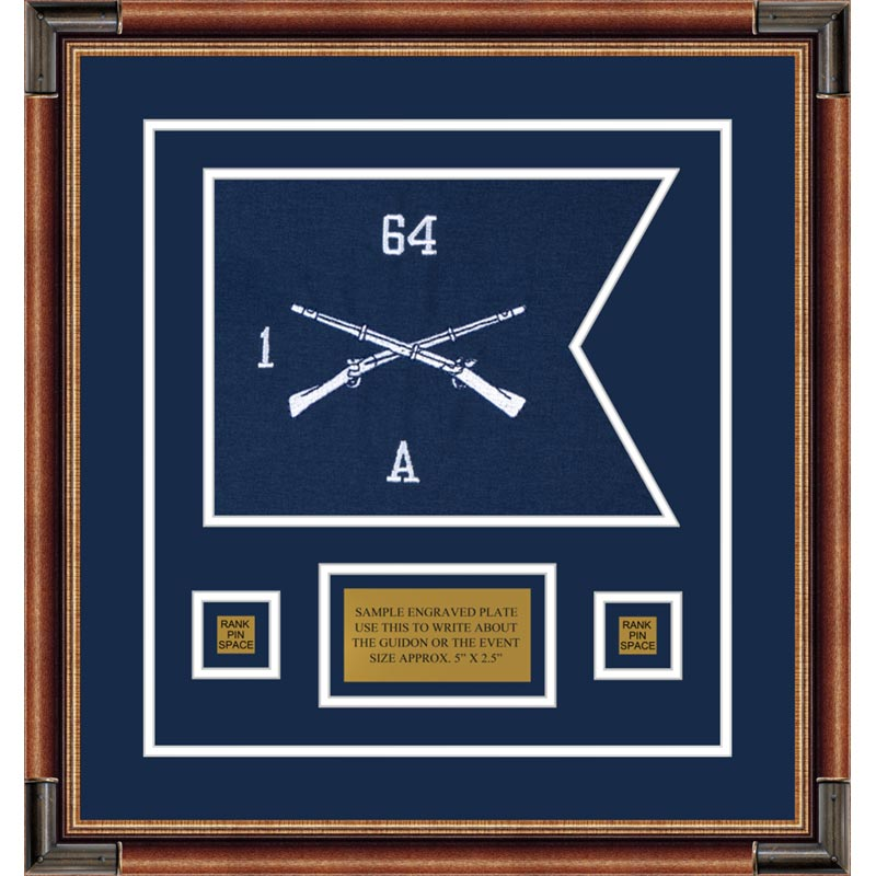"Infantry Version 1 12"" x 9"" Guidon Design 129-D1-M1 Framed"