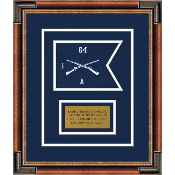 "Infantry Version 1 7"" x 5"" Guidon Design 75-D1-M1 Framed"