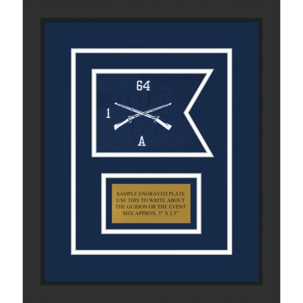 "Infantry Version 1 7"" x 5"" Guidon Design 75-D1-M2 Framed"