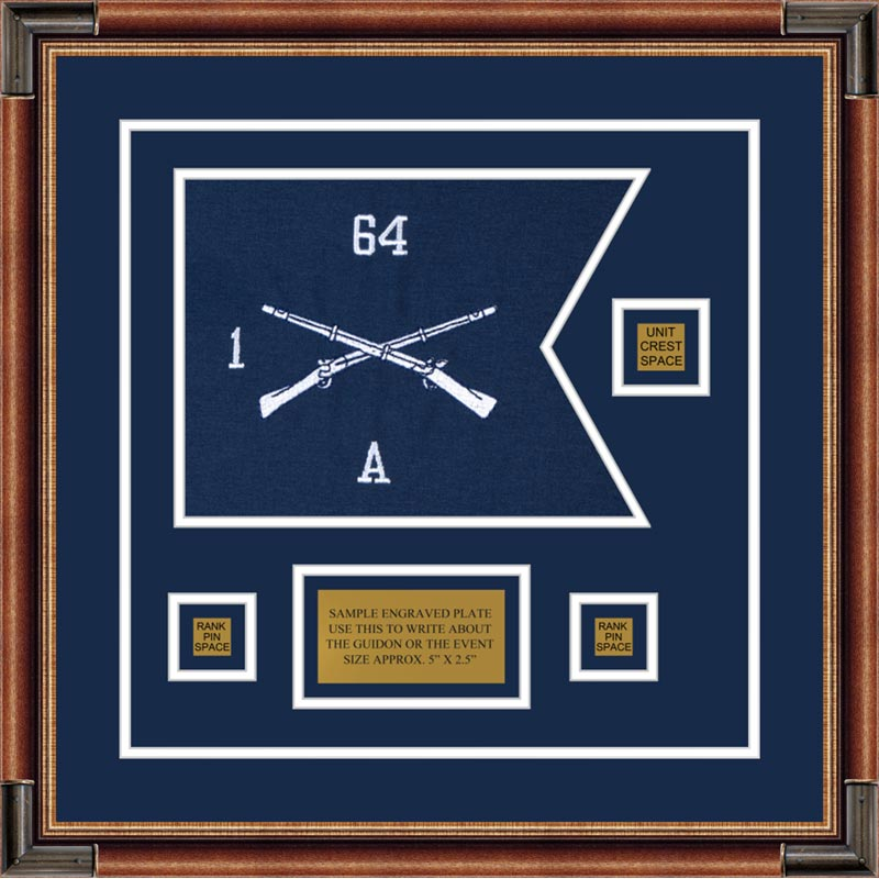 "Infantry Version 1 12"" x 9"" Guidon Design 129-D2-M1 Framed"