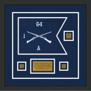 """Infantry Version 1 12"""" x 9"""" Guidon Design 129-D2-M2 Framed"""