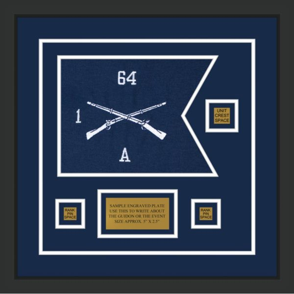 "Infantry Version 1 12"" x 9"" Guidon Design 129-D2-M2 Framed"