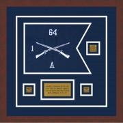 """Infantry Version 1 12"""" x 9"""" Guidon Design 129-D2-M3 Framed"""