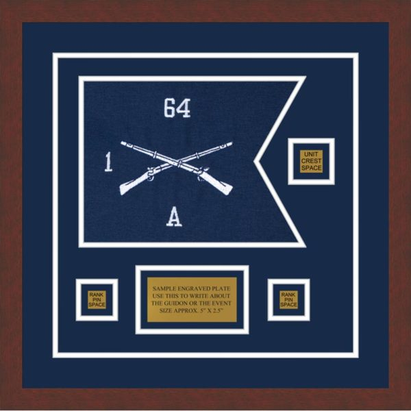 "Infantry Version 1 12"" x 9"" Guidon Design 129-D2-M3 Framed"