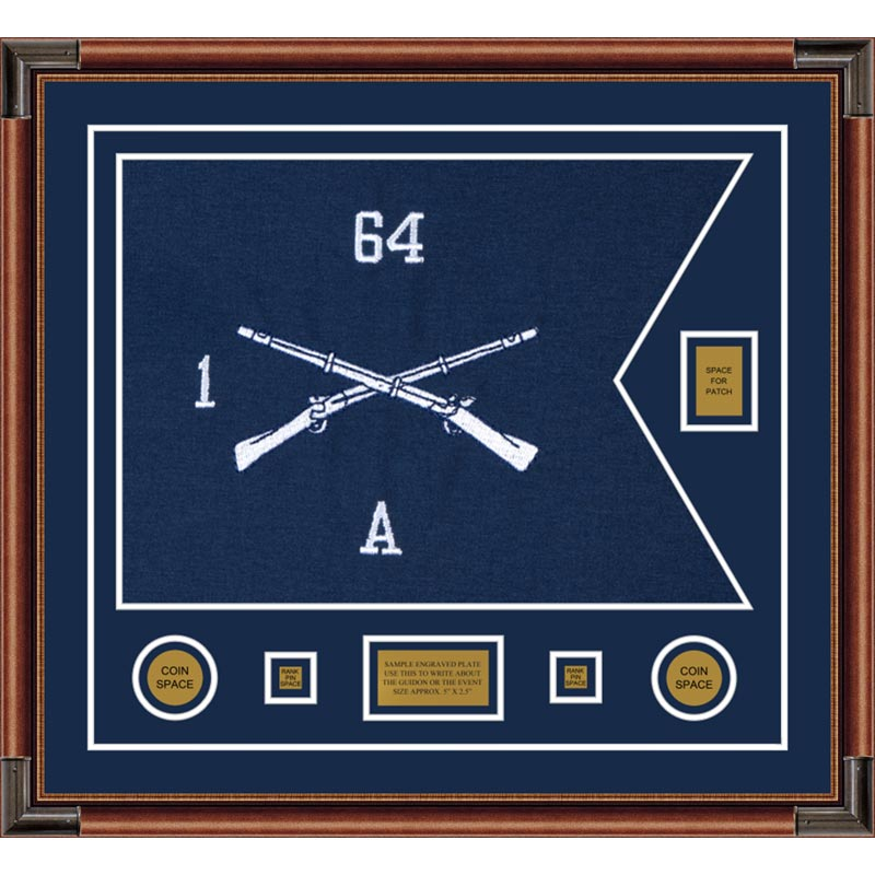 "Infantry Version 1 28"" x 20"" Guidon Design 2820-D2-M4 Framed"