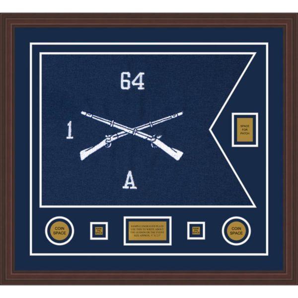 """Infantry Version 1 28"""" x 20"""" Guidon Design 2820-D2-M6 Framed"""