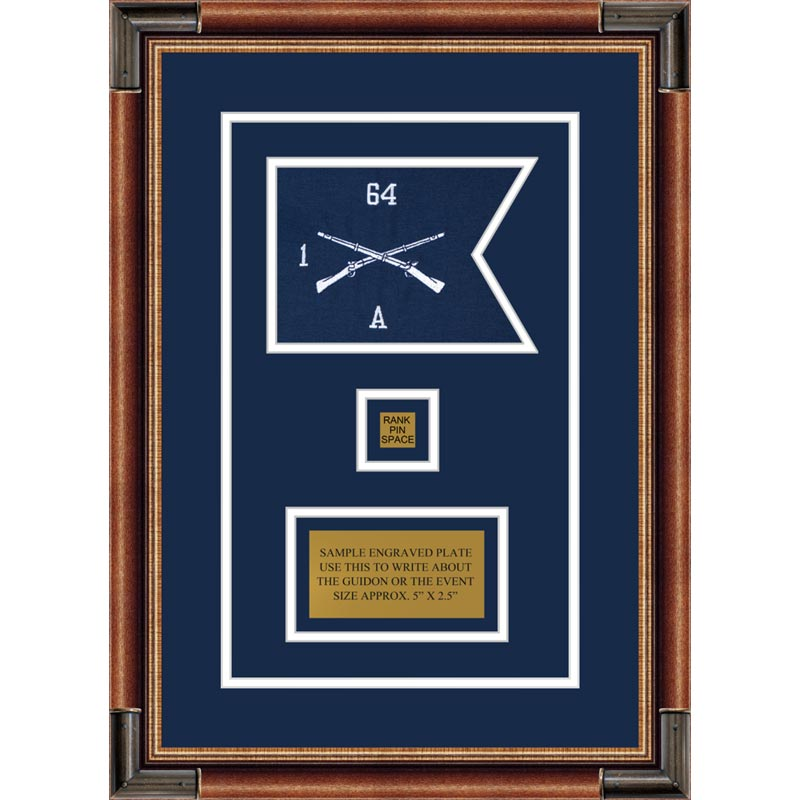 "Infantry Version 1 7"" x 5"" Guidon Design 75-D2-M1 Framed"