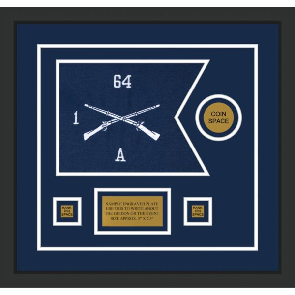 "Infantry Version 1 12"" x 9"" Guidon Design 129-D3-M2 Framed"