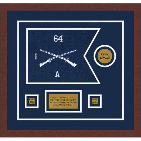 "Infantry Version 1 12"" x 9"" Guidon Design 129-D3-M3 Framed"