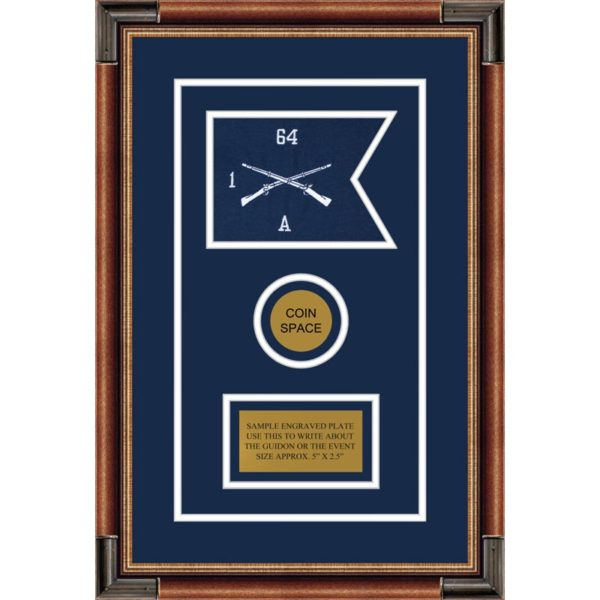 "Infantry Version 1 7"" x 5"" Guidon Design 75-D3-M1 Framed"