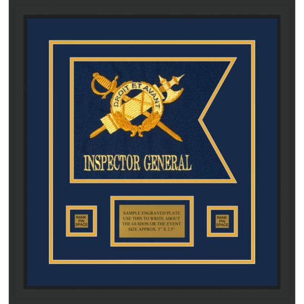 """Inspector General 12"""" x 9"""" Guidon Design 129-D1-M2 Framed"""