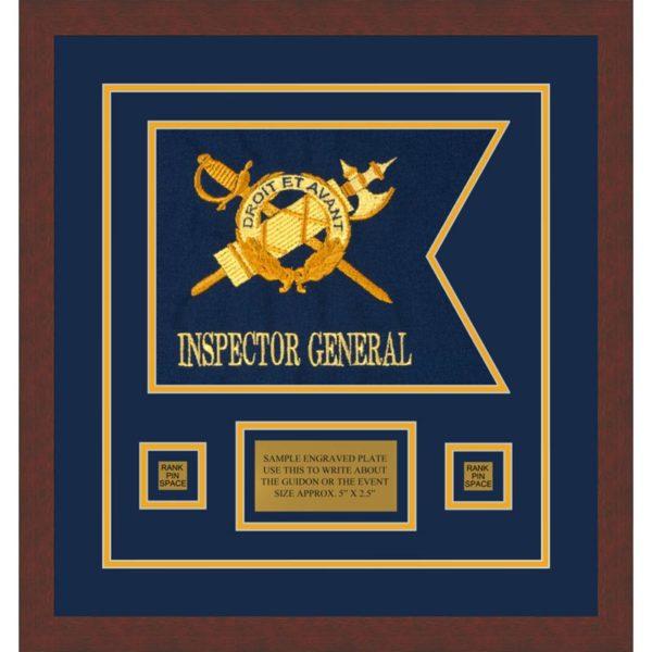 """Inspector General 12"""" x 9"""" Guidon Design 129-D1-M3 Framed"""