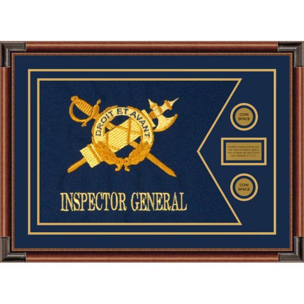 """Inspector General 28"""" x 20"""" Guidon Design 2820-D1-M4 Framed"""