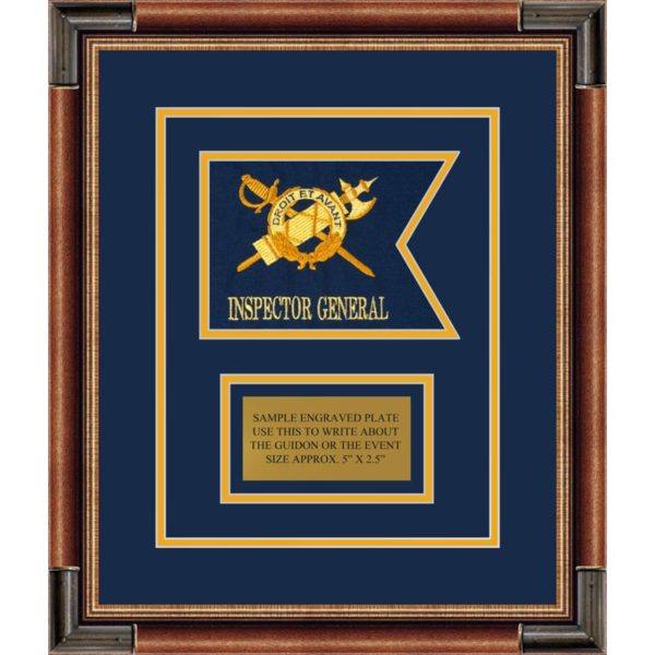 "Inspector General 7"" x 5"" Guidon Design 75-D1-M1 Framed"