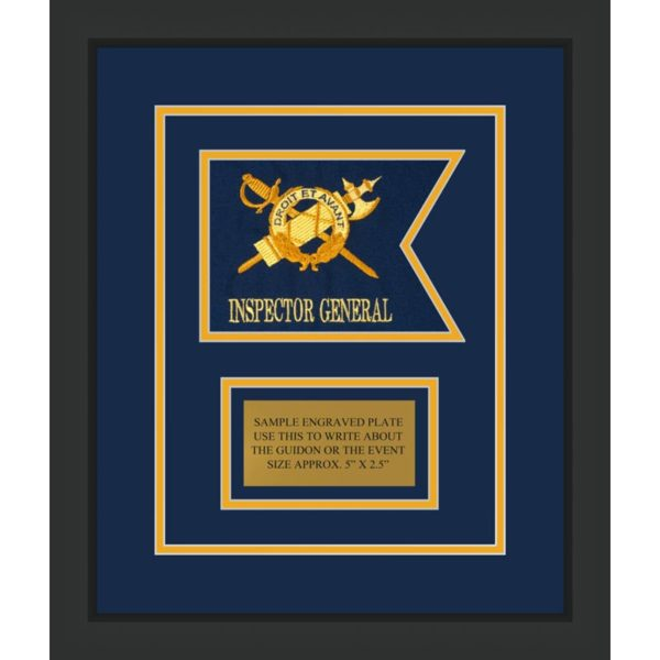 """Inspector General 7"""" x 5"""" Guidon Design 75-D1-M2 Framed"""
