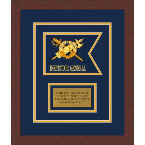 """Inspector General 7"""" x 5"""" Guidon Design 75-D1-M3 Framed"""