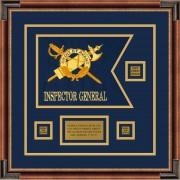 """Inspector General 12"""" x 9"""" Guidon Design 129-D2-M1 Framed"""