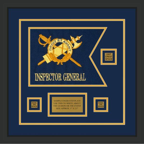 """Inspector General 12"""" x 9"""" Guidon Design 129-D2-M2 Framed"""