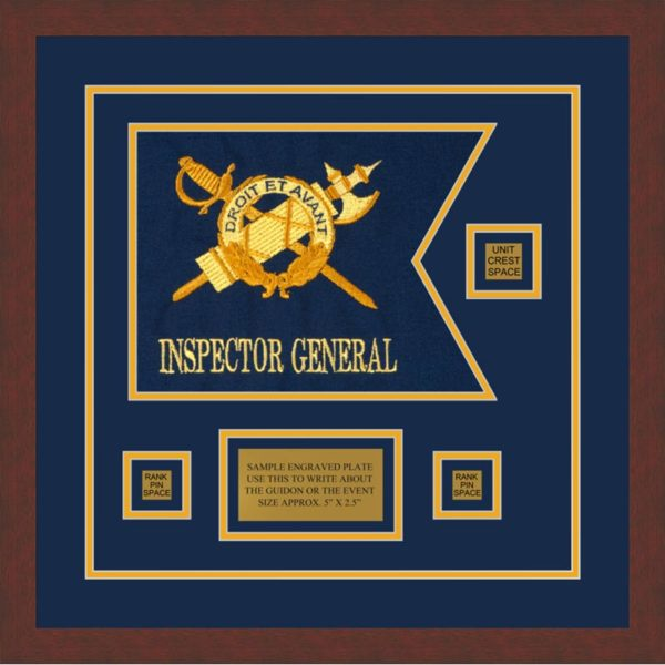 """Inspector General 12"""" x 9"""" Guidon Design 129-D2-M3 Framed"""