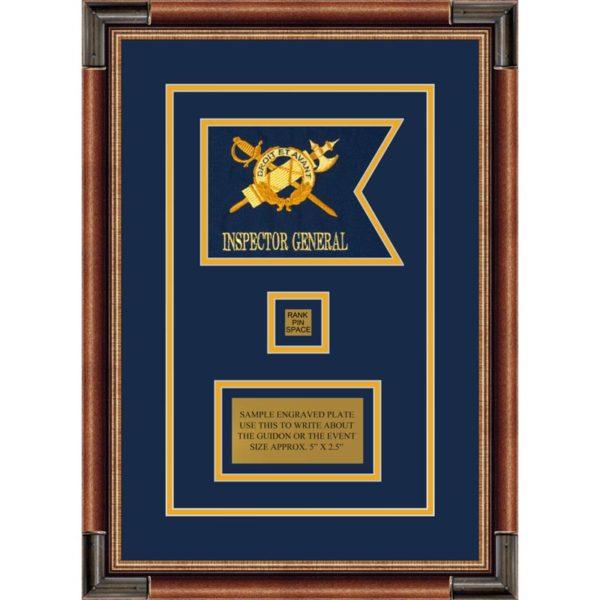 """Inspector General 7"""" x 5"""" Guidon Design 75-D2-M1 Framed"""