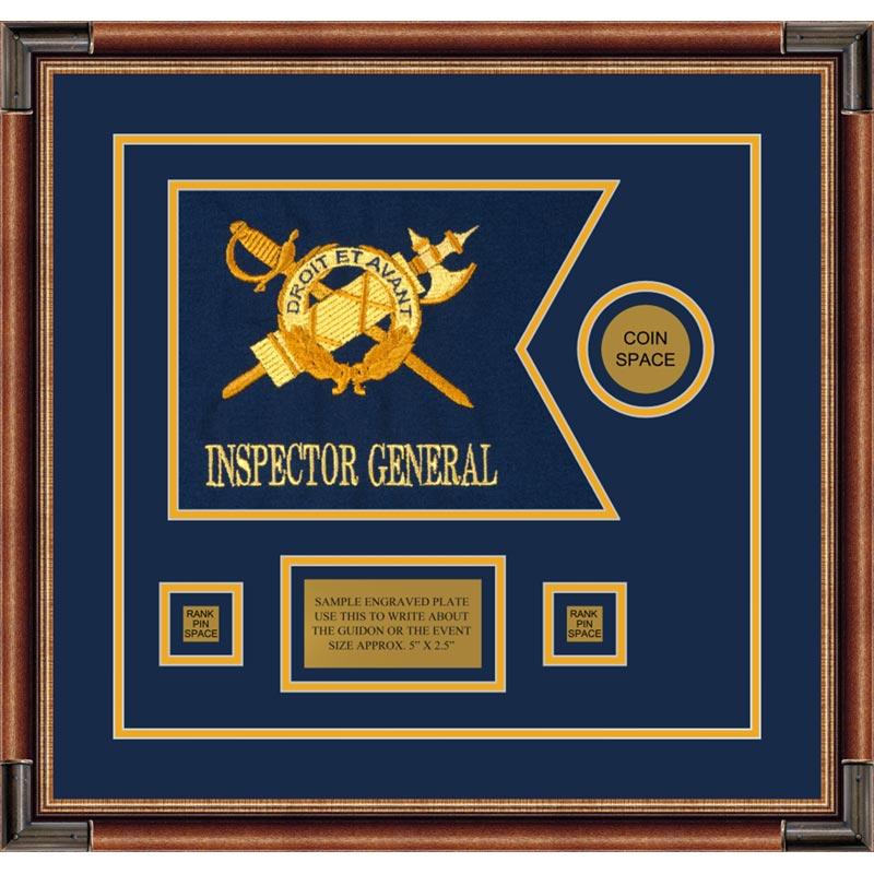 """Inspector General 12"""" x 9"""" Guidon Design 129-D3 Framed"""