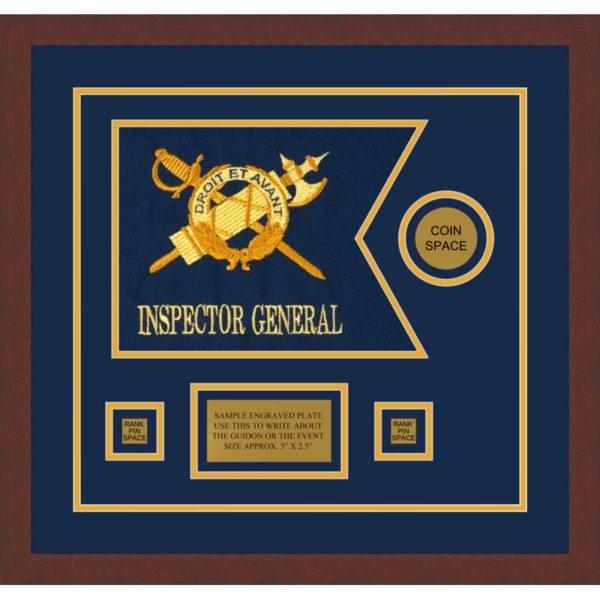 """Inspector General 12"""" x 9"""" Guidon Design 129-D3-M3 Framed"""